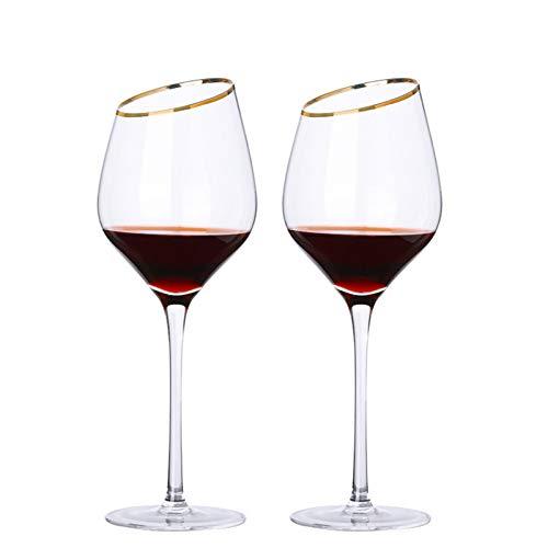 Copa de vino tinto, conjunto de copa de vino blanco de 2, copa de vino tinto transparente como regalo para cumpleaños de Navidad 427ML