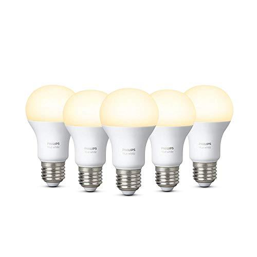 Philips Hue White - Pack de 5 bombillas LED E27, 9,5 W, iluminación inteligente, luz blanca cálida regulable (compatible con Amazon Alexa, Apple HomeKit y Google Assistant)