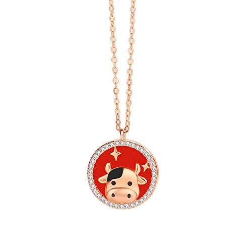 sudalv1971 Collar Creativo De Año De Buey, Chapado En Plata, Cadena con Forma De Ganado, Exquisita Mano De Obra, Collar De Buen Uso para Regalo Familiar 1
