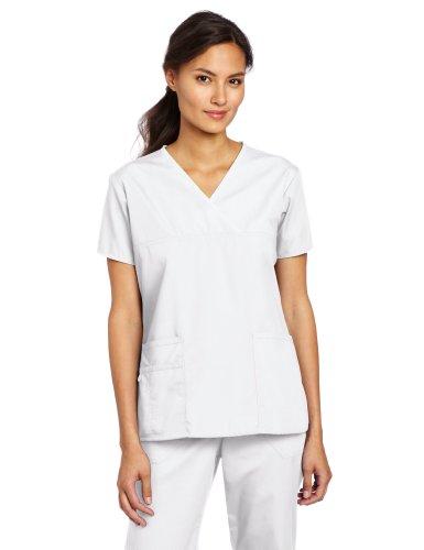WonderWink Women's Scrubs Charlie 5 Pocket Y-Neck Wrap Top, White, 3X-Large