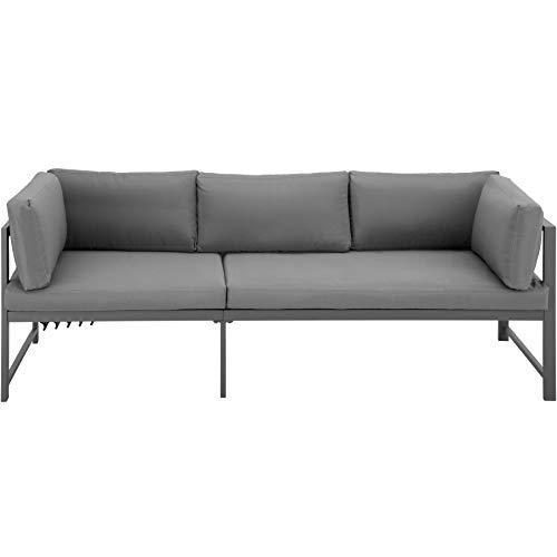 TecTake 403903 Aluminium Sitzgruppe für Garten, Balkon und Terrasse, wetterfest, 6-Fach verstellbare Rückenlehne, inkl. weiche Sitz- und Rückenkissen, grau - 6