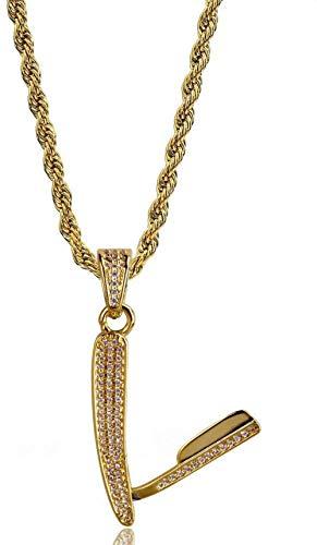 JIUJIN Hip Hop Rasiermesser Form Halskette Anhänger Schmuck Vergoldet Mikro-Eingelegte Zirkon Halskette Anhänger Geburtstagsgeschenk Gold