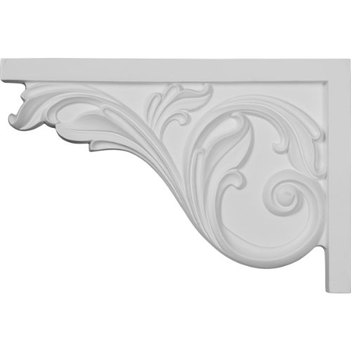 Ekena Millwork SB11X07AC-L Large Acanthus Stair Bracket, Left, 11 3/4'W x 7 3/4'H x 3/4'D, Primed