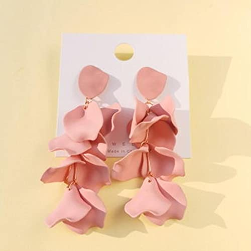 SALAN Pendientes De Hojas De Rosa De Flor De Color Caramelo Bonitos, Pendientes Largos Y Elegantes De Acrílico, Joyería De Fiesta De Moda, Pendientes De Gota Coreanos para Mujer