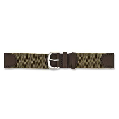 Jewelry Best Seller 19mm Olive Army Style Nylon/Leather Silver-tone Buckle Watch Band