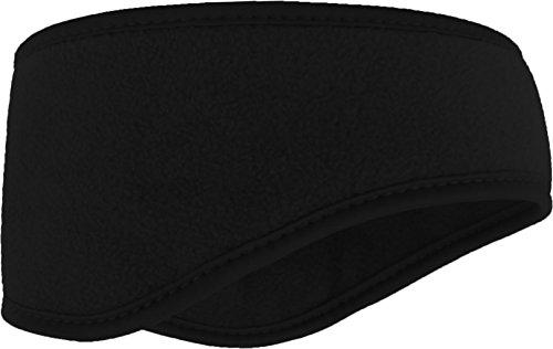 Stirnband aus weichem Fleece Ohrenwärmer Größenverstellbar in 5 ver. Farben, Farbe :Schwarz