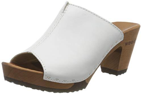 Woody Damen Elly Pantoletten, Weiß (Weiss 005), 40 EU