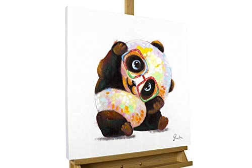 KunstLoft® Acryl Gemälde 'Hipster Panda' 60x60cm | original handgemalte Leinwand Bilder XXL | Panda Modern Bunt Bunt | Wandbild Acrylbild Moderne Kunst einteilig mit Rahmen