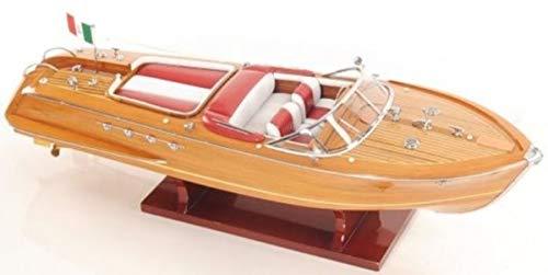 Casa Padrino Holzboot Speedboot Riva Aquarama Naturfarben/Rot/Weiß 68,6 x 20,3 x H. 19 cm - Handgefertigtes Deko Modellboot Schiff Boot