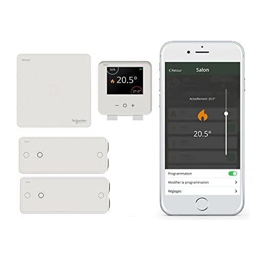 Schneider Electric Wiser CCTFR6905 - Kit de iniciación termostato conectado para radiadores eléctricos