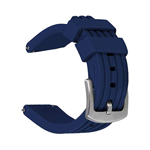Weimob Unisex Silikon Uhrenarmband 22mm Blau mit Dornschließe Gerade Anstoß Schnell-Montierbar Wasserfest Sportlich wa139-22weimob EINWEG
