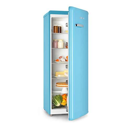 Klarstein Irene XL - Vollraumkühlschrank, Retro Kühlschrank, Kompressionskühlschrank, 242 L Volumen, Energieeffizienzklasse A+, stufenlos regulierbar, 10°C Kühlleistung, 4 Regale, blau