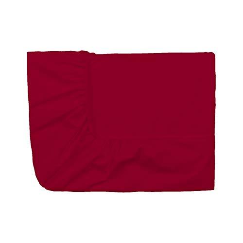 Essix Home Collection, Coprimaterasso in Percalle con Angoli Elasticizzati, Rosso (Karminrot), 90 x 190 cm