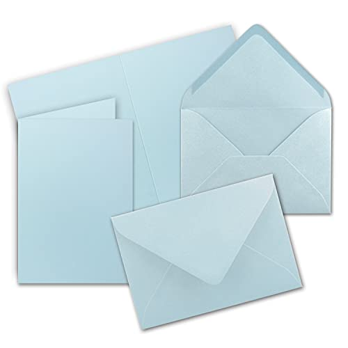 25x DIN B6 Faltkarten Set mit Umschlägen - Hellblau (Blau) - 115 x 170 mm - ideal für Einladungskarten, Hochzeit, Taufe, Kommunion, Konfirmation - Marke: FarbenFroh