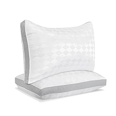 Beckham Hotel Collection Gusset Gel Pillow (2-Pack) - Diamond Embossed Luxury Gel Pillow - Hypoallergenic & Dust Mite Resistant - Queen