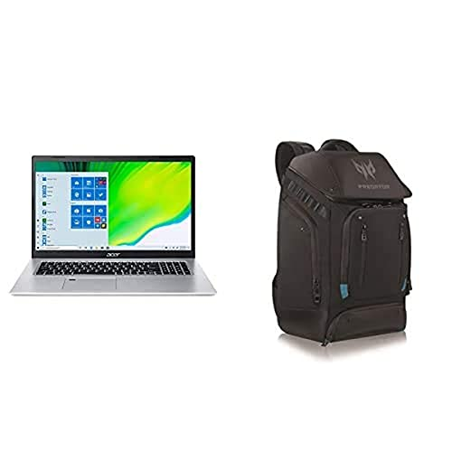 """Acer Aspire 5 Slim Laptop A517-52-713G, 17.3"""" Full HD IPS Display, 11th Gen Intel Core i7-1165G7, Intel Iris Xe Graphics, 16GB DDR4, 512GB NVMe SSD with Predator Utility Gaming 17"""" Backpack"""