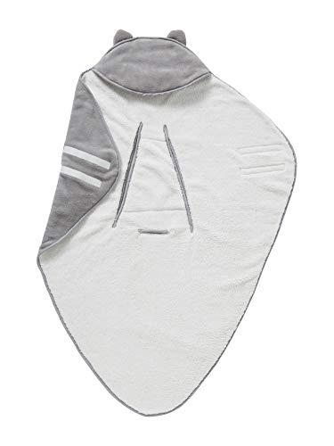 VERTBAUDET Babydecke mit Kapuze, Mikrofaser/Fleece weiß/grau ONE SIZE