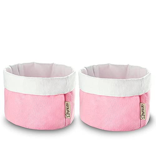 myHodo Set di 2 cestini per bambini, in cotone, per riporre il fasciatoio, per droghe, cosmetici, gioielli, cestini per panini, cestini in tessuto per il tavolo da toeletta (16 cm)