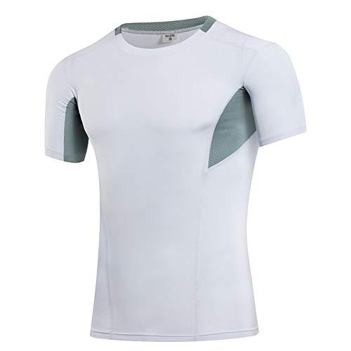 Camiseta de compresión de manga corta para hombre, para hombre, con capa base, 6 colores (color: blanco, tamaño: L)