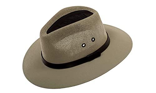 Green Cricket Panama Fedora HAT, Straw Fiber, Explorer Gambler Style, Moka Color.
