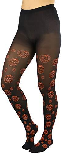 ToBeInStyle Women's Pumpkin Pattern Pantyhose - Black/Orange