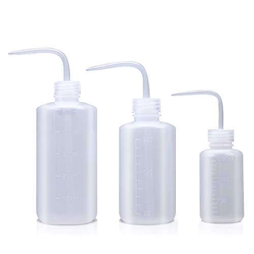 Wash bottle, 3 Pack LDPE Squeeze Bottles, Safe Plastic Low Density Polyethylene Watering Bottle with Narrow Mouth, for Chemistry, Industry, Lab & Gardening, 500ml / 17oz, 250ml / 8.5oz, 150ml / 5.1oz
