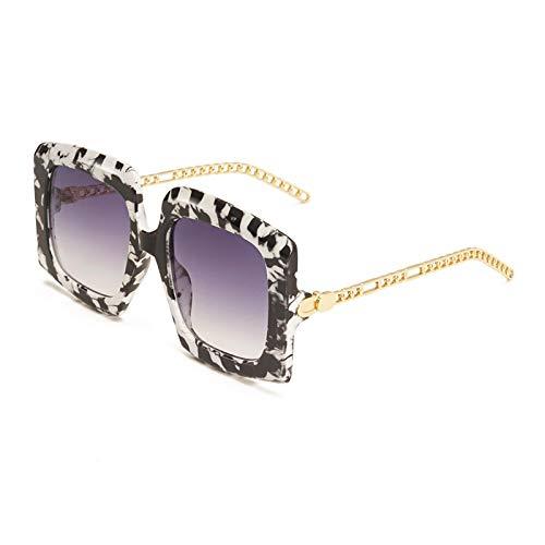 Gafas de Sol Sunglasses Gafas De Sol con Escudo De Moda para Mujer, Hombre, Tendencia, Cadena De Metal, Pierna, Marco De Aleación De Leopardo Negro, Gafas De Sol De Diseñador De Ma