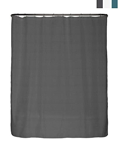 arteneur® - Premium Duschvorhang 180x200 – Antischimmel Duschvorhang Grau mit Struktur-Stoff , Blickdicht, Wasserdicht, Waschbar und inkl. E-Book und Ringe (Anthrazit Grau)