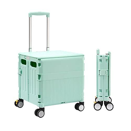 Carretilla con Caja Plegable Carrito De Compras Plegable 65L, Caja con Ruedas Universales, Caja De Almacenamiento con Barra De Aluminio Ajustable (Color : Green)