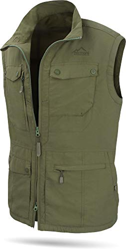 normani Herren Outdoor Weste mit atmungsaktivem Sonnenschutzmaterial 50+ (XS-5XL) Farbe Olive Größe L