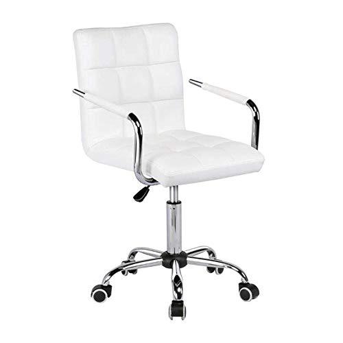 NAN liang Tabouret de bar en polyuréthane, chaise d'ordinateur pivotante, chaise pivotante réglable avec ascenseur à gaz, chaises de réception extérieures en similicuir, (noir, blanc)