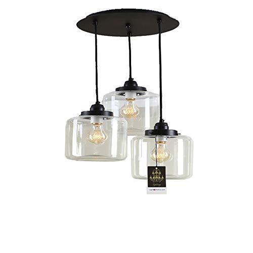 Boaber - Lámpara de cristal moderna, grande, simple, restaurante, lámpara de cristal, lámparas LED, 3 luces, 41 x 73 cm