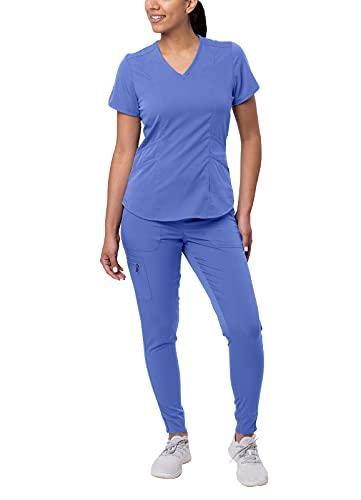 Adar Pro Modern Athletic Scrub Set for Women - Modern V-Neck Scrub Top & Yoga Jogger Scrub Pants - P9500 - Ceil Blue - M