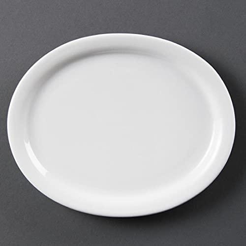 Olympia Whiteware Plateaux Ovales en Porcelaine Blanche 200mm - Design Innovant Entièrement Vitrifié - Résistant au Lave Vaisselle - Paquet de 6