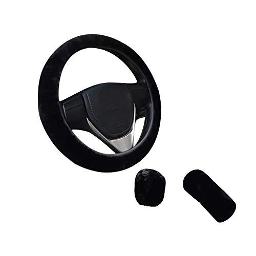 Cubierta del Volante Universal Felpa Funda para Volante Antideslizante Cubre Volante Coche, con Cubierta del freno de mano, Manga varilla de cambio, Negro
