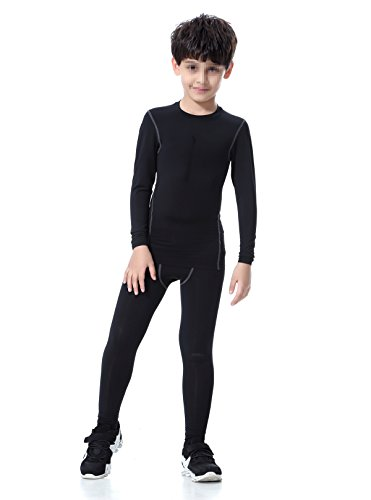 LNJLVI Boys & Girls Sports Compression Shirts Long Sleeve and Pant 2 PCS Set (10, Black)