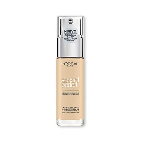L'Oréal Paris Fondotinta Accord Parfait, Effetto Naturale, con Acido Ialuronico 1.D/1.W Ivoire Doré/Golden Ivory