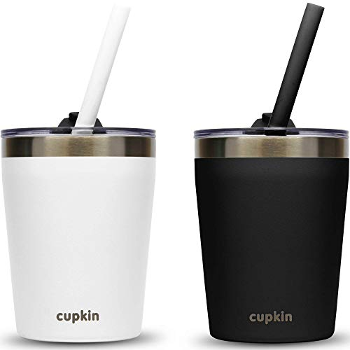 Cupkin Stackable Stainless Steel Kids Cups for Toddlers (EASY to Clean) - Set of 2 Powder Coated Vacuum Insulated Tumblers, 2 BPA Free Lids & 2 Reusable Silicone Straws (Black + White 8.5 OZ)