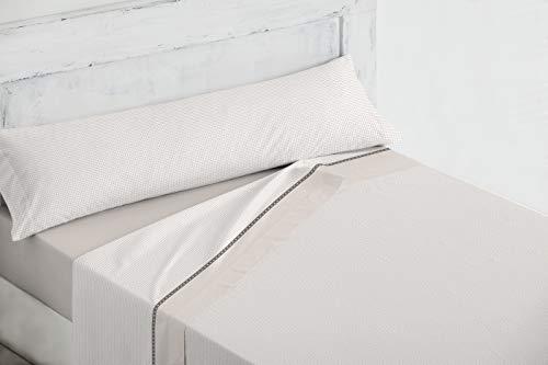 Sabanas de Verano Beige, 30/32-200 Hilos 50%50 algodón,(Garantía Total). Máxima solidez y Resistencia al Lavado. (para 200 cm (2 Almohadas))