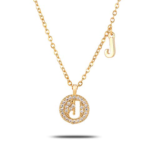 HJL Gold Rhinestone Initial Necklace for Women, Hollowed Round Disc Pendant Letter A to Z Necklace Crystal Alphabet Necklace Jewelry for Girls Personalized Birthday Mother's Day (J)