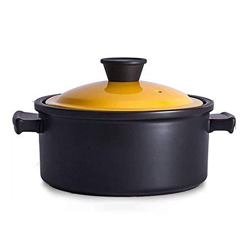 zyl Plato para cazuela Platos para cazuelas con Tapas - Cazuela de cerámica Estufa de Gas Olla de Sopa Cazuela Cocina de inducción Olla de Sopa dedicada Olla para estofado-3.5L