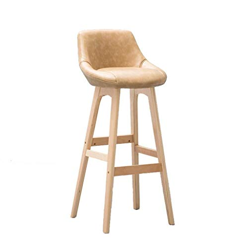 NYDZ Home Bar Muebles Taburete de madera Taburete alto para desayuno, comedor para cocina, hogar, bar, mostrador, silla comercial con respaldo y cojín beige de poliuretano estilo conciso