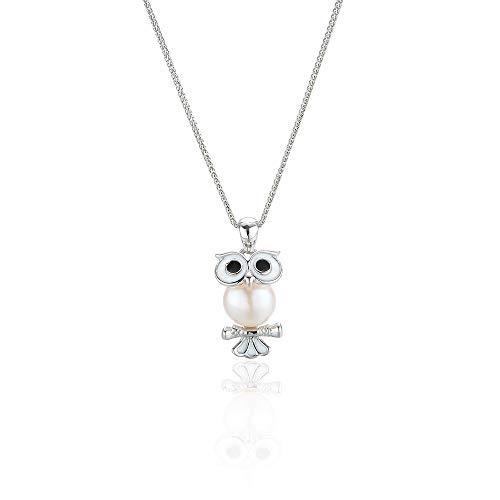 VBN S925 Sterling Silber Halskette, Mode Süßwasser Perlen Eule Halskette