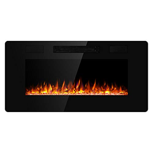 JAMFLY 36 Inch Wall Mounted and Recessed Electric Fireplace Insert, Ultra-Thin Lightweight LED Fireplace Heater, Adjustable Flame LED Colors, Remote Control, Touch Screen, Timer(Low Noise)