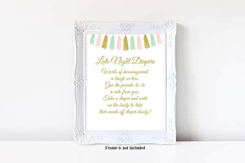 Tassel Baby Shower, Late Night Diapers Sign, Diaper Baby Shower Game, Girl or Boy Baby Shower, Twins Baby Shower, Baby Shower Games, 8x10 Glossy Sign, Frame is NOT included