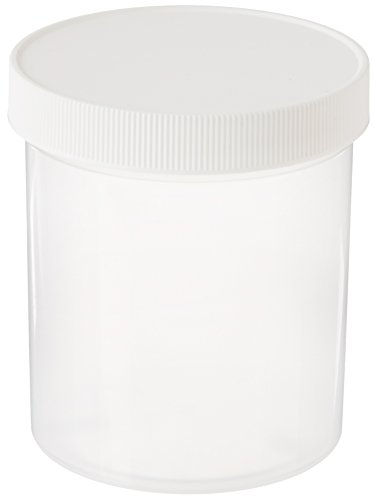 JG Finneran D0045B-16 Polypropylene Wide Mouth Straight Sided Standard Jar with White Polypropylene Closure, Unlined, 89-400mm Cap Size, 16oz Capacity, Bulk pack (Pack of 140)