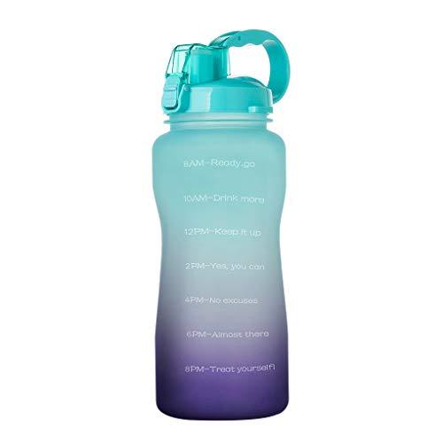 Vokmon Sport-Wasserflasche 2000ml Outdoor-Trinkflasche Flasche Stroh Wasser Stroh tragbare Reise Teetasse, Grün Lila