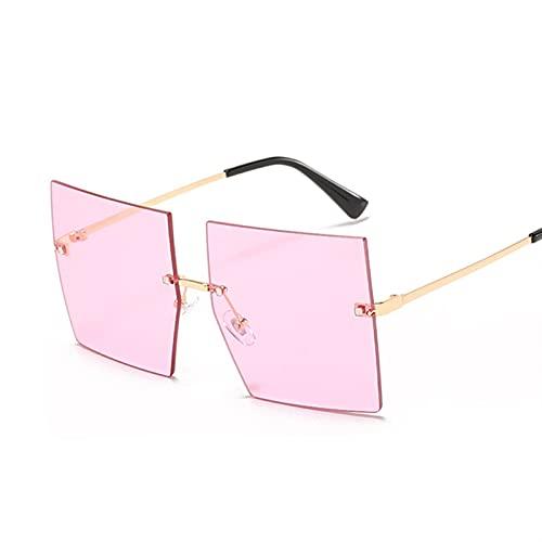 HSCDQ Gafas de Sol de Gran tamaño cuadradas Mujeres Vintage Luxuryless Rimless Sun Glasses para Femenino Gradiente Espejo Metal Oculos De Sol exc.tq (Lenses Color : Gold Pink)
