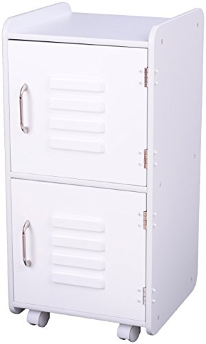 KidKraft Painted Wood Medium Storage Locker On Wheels with Two Compartments - White