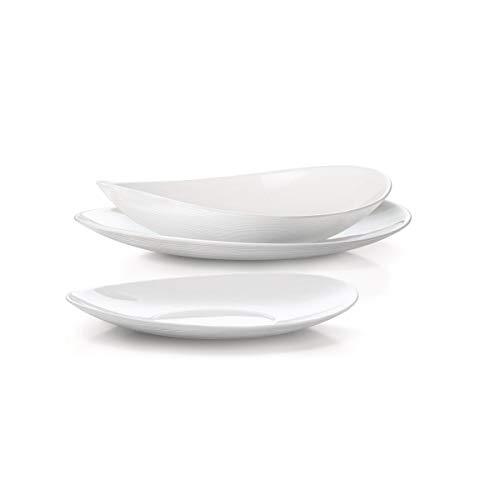 Fitting Gifts Bistro Collection Service de Table Prometeo de Forme Ovale, Blanc Brillant, avec 6X Assiettes Plates, 6X Assiettes Creuses et 6X Assiettes à Dessert (18 Pièces)